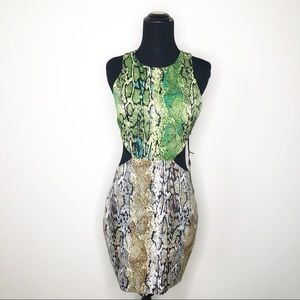 NWT Revolve Naven Green Snakeskin Cutout Dress